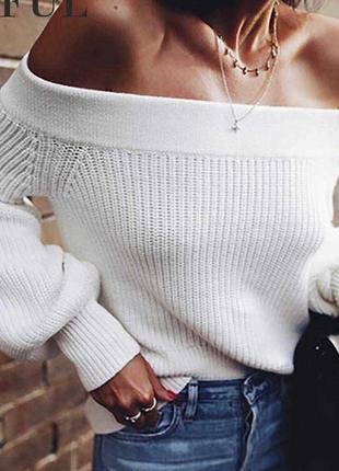 Белый свитер короткая кроп вязаная кофта на плечи оверсайз обь...