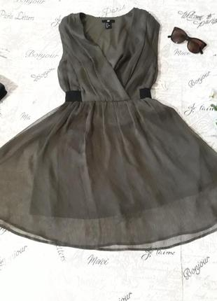 Платье  цвета хаки,шифон