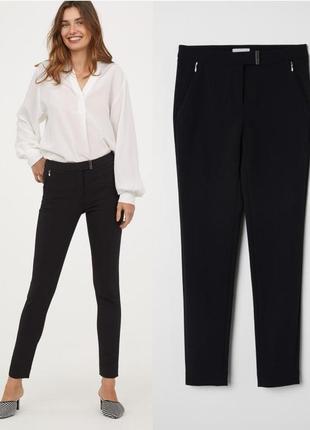 Черные узкие стрейчевые брюки,костюмные черные брюки