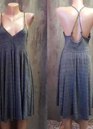 Люрексовее платье на бретельках h&m