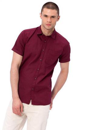 Бордовая мужская рубашка lc waikiki / лс вайкики с коротким ру...