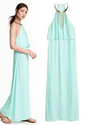 Шифоновое платье макси h&m,бирюзовое платье в пол sale
