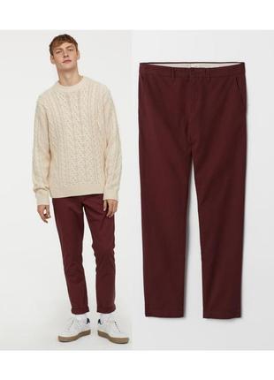 Бордовые хлопковые брюки чинос 36