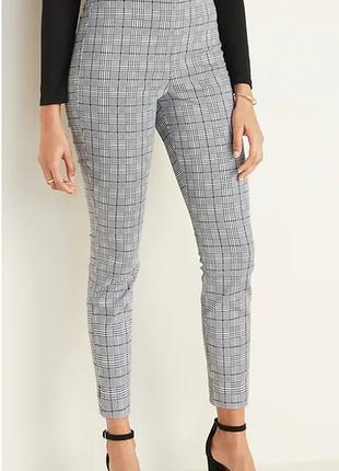 Женские  хлопковые  брюки правильная клетка  с высокой талией,...