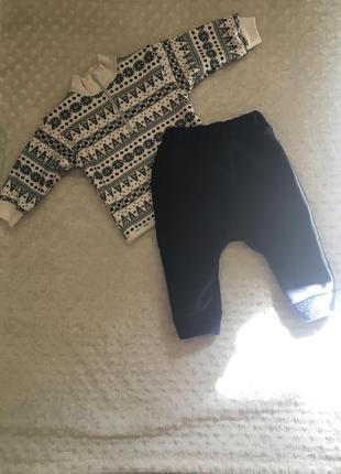 Костюм для новорождённого, тёплый костюм, штаны на меховушке, ...