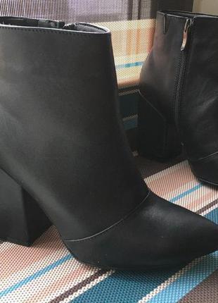 Шикарные ботильоны, натуральная кожа, устойчивый каблук