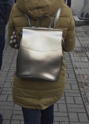 Распродажа кожаный рюкзак-сумка трансформер серебро