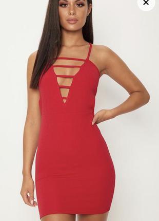 Красное секси платье новое с биркой prettylittlething размер 1...