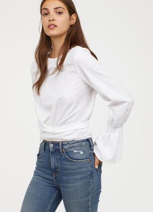 Белая хлопковая блузка с рукавом