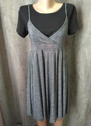 Люрексовое платье,люрексова сукня на бретельках,платье металик...