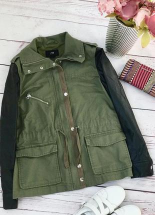Модная коттоновая куртка,куртка-парка с кожаными рукавами h&m