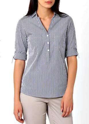 Cтильная блузка-рубашка в сине-голубую полоску р.14
