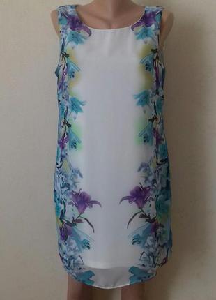 Красивое шифоновое платье с принтом прямого кроя f&f