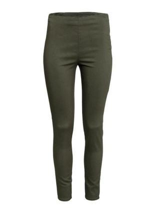 Твиловые эластичные штаны цвет хаки,високие трегинсы