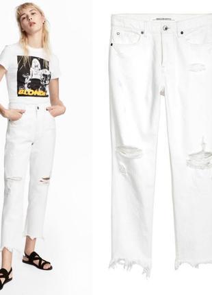 Белые рваные джинсы mom,белые мом джинсы