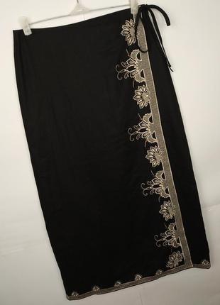 Юбка красивая длинная льняная вышивка бисер marks&spencer uk 1...