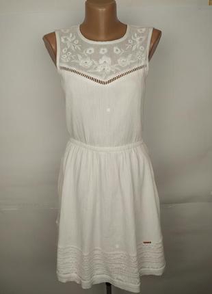Платье белое красивое хлопковое вышивка кружево бисер оригинал...