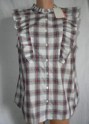 Новая блуза в клетку с оборками