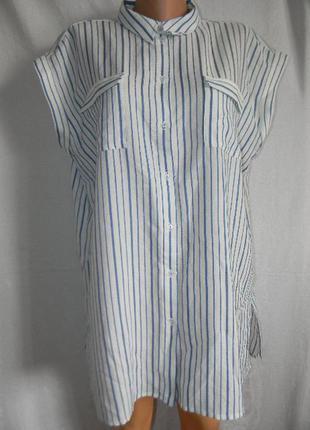 Новая блуза рубашка в полоску большого размера