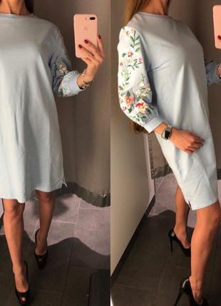 Небесно голубое платье свитшот amisu fb sister