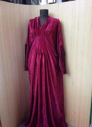 Длинное красное платье макси летучая мышь фактурный велюр l/xl