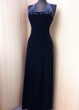 Вечернее винтажное чёрное длинное велюровое платье с открытой спи