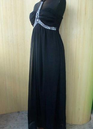 Роскошное чёрное вечернее длинное платье  под грудь eve