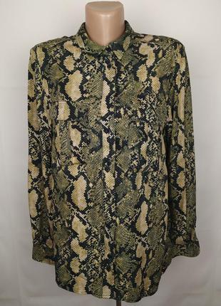 Блуза рубашка модная натуральная в питоновый принт h&m uk 14/42/l