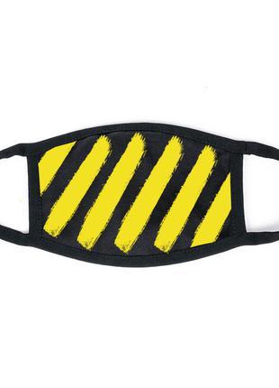 Маска на лицо черная - Полосы желтые