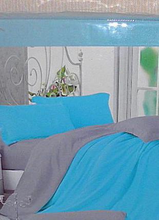 Двухспальный однотонный комплект постельного белья. постель са...