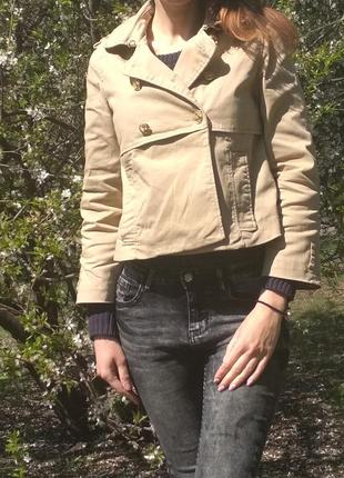 Оригинальный укороченный  тренч. блейзер.  пиджак. лёгкая курт...