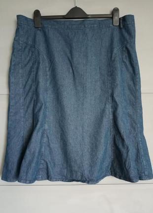 Стильная юбка . юбка миди . джинсовая юбка. коттон . большой р...