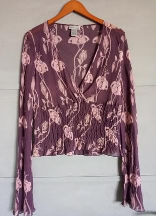 Стильная блуза. рисунок. тренд . большой размер. батал. шелк