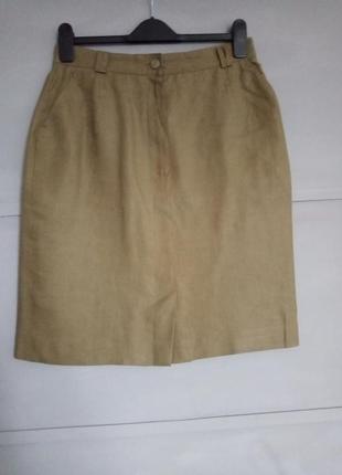 Льняная юбка. стильная юбка карандаш . миди