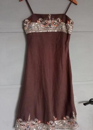 Шикарное платье. льняной сарафан . королевская вышивка . лен. ...