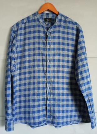 Клетчатая рубашка. мужская рубашка в клетку. рубашка без ворот...