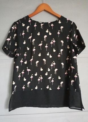 Крутая блуза. оригинальный принт . фламинго . топ. рубаха. фут...