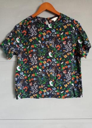 Яркая футболка. цветная блуза . хохлома . роспись . цветы. принт