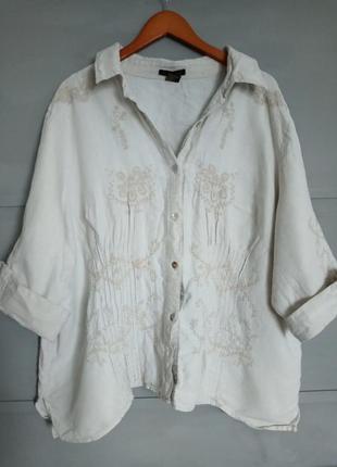 Шикарная льняная рубашка. блуза. рубаха. с вышивкой. большой р...