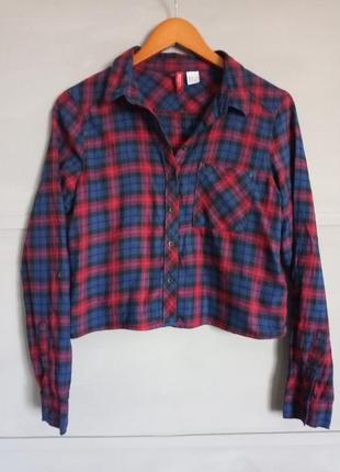 Кроп рубашка. укороченная рубашка. рубаха. клеточка