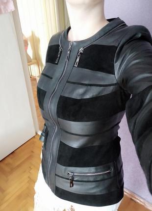 Куртка комбинированая натуральная кожа замш eros кожа