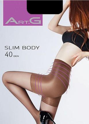 Черные корректирующие колготки body slim 40 den с высокой тали...