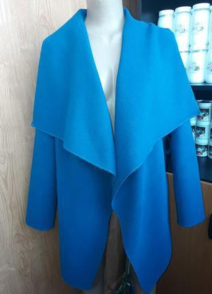 Женское кашемировое пальто на запах, синее