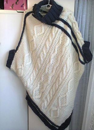 Ассиметричное вязаное платье-свитер р.l из шерсти, авторская р...