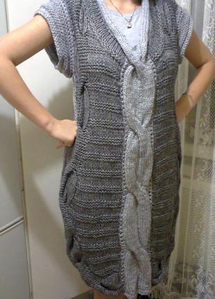 Шикарное вязаное платье р.l, ручная работа