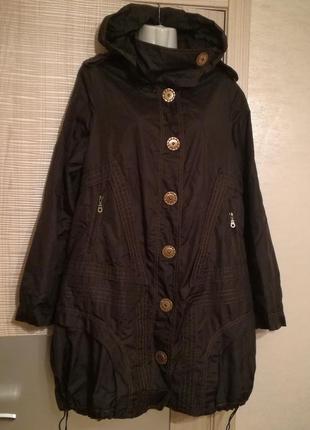 Шикарная необычная куртка парка,плащ с капюшоном.большой размер