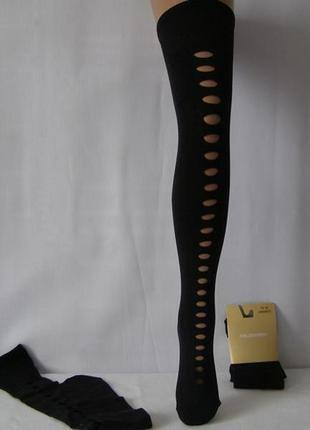 Плотные черные чулки -ботфорты с декором calzedonia италия  ра...