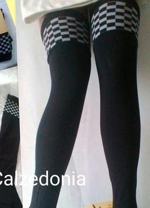 Плотные черные чулки -ботфорты с декором calzedonia италия  s/...