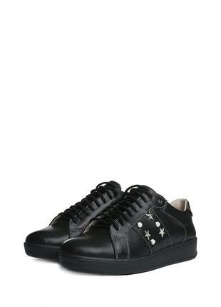 Женские кожаные кроссовки кеды туфли на шнурках низком ходу че...