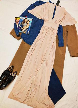 Love новое с биркой платье бежевое персиковое макси длинное с ...